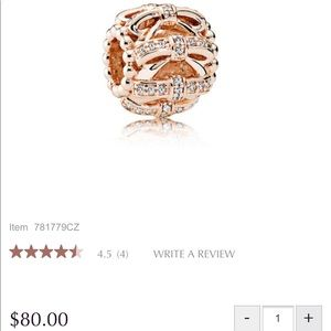 Pandora Rose Gold Shimmering Sentiments Bow charm